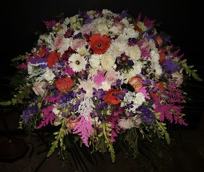 Spring mix casket spray from Flower Works II, your Medford area florist