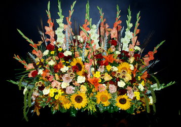 Fall Cremation Backdrop from Flower Works II, your Medford area florist