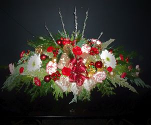 Xmas long and low centerpiece from Flower Works II, your Medford area florist