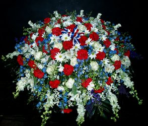 RWB Casket Spray from Flower Works II, your Medford area florist