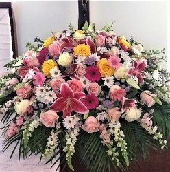 Half Casket Spray from Flower Works II, your Medford area florist
