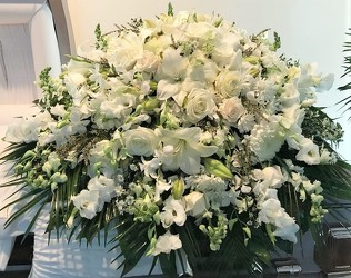White Casket Spray from Flower Works II, your Medford area florist